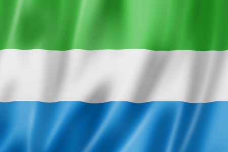 Sierra Leone flag, three dimensional render, satin texture photo