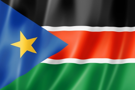 sudan: South Sudan flag, three dimensional render, satin texture Stock Photo