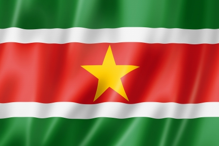 suriname: Suriname flag, three dimensional render, satin texture Stock Photo