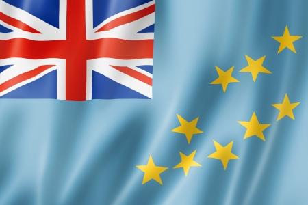 tuvalu: Tuvalu flag, three dimensional render, satin texture Stock Photo