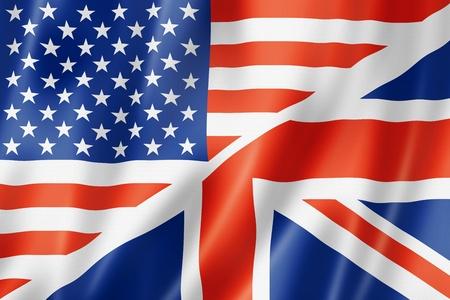 미국과 영국 국기, 입체, 새틴 텍스처를 렌더링합니다. 말하기 영어 상징 스톡 콘텐츠
