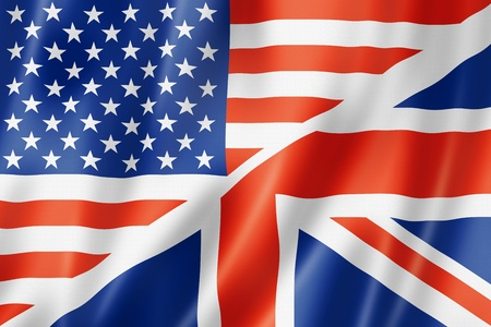 great britain flag: USA and UK flag, three dimensional render, satin texture. speaking english symbol