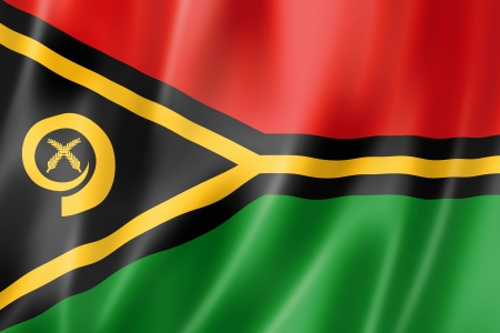 vanuatu: Vanuatu flag, three dimensional render, satin texture