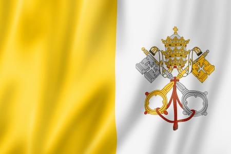 banderas del mundo: Ciudad del Vaticano bandera, tres render tridimensional, textura satinada Foto de archivo