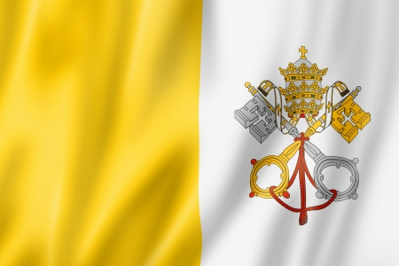 waving flag: Vatican City flag, three dimensional render, satin texture