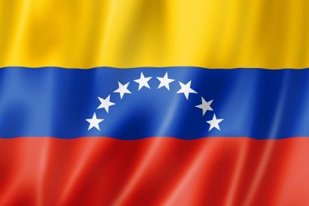Venezuela flag, three dimensional render, satin texture photo