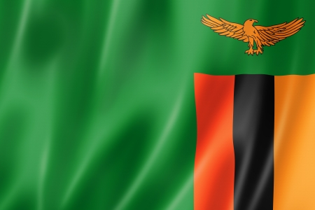 zambian: Zambia flag, three dimensional render, satin texture