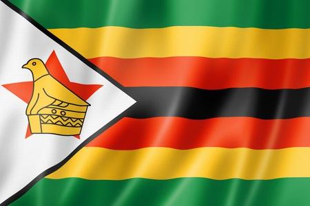 zimbabwe: Zimbabwe bandera, render tres dimensiones, textura satinada
