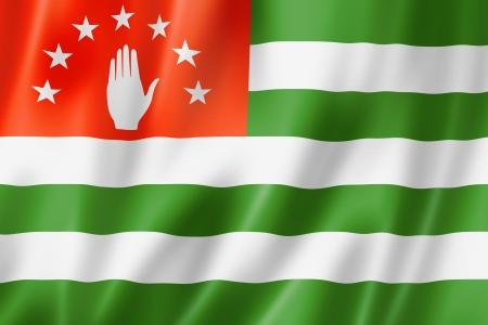 abkhazia: Abkhazia flag, three dimensional render, satin texture Stock Photo