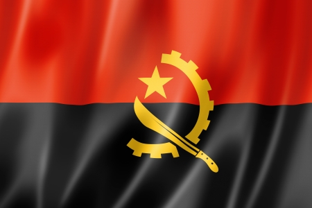 angola: Angola flag, three dimensional render, satin texture