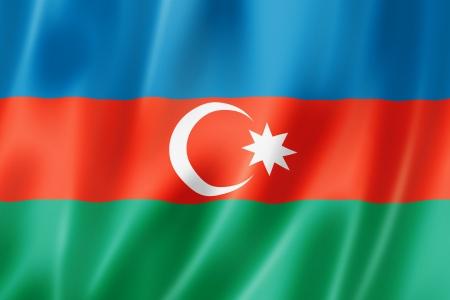 azerbaijani: Azerbaijan flag, three dimensional render, satin texture