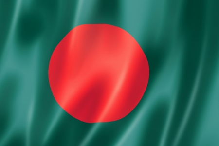 Bangladesh flag, three dimensional render, satin texture photo