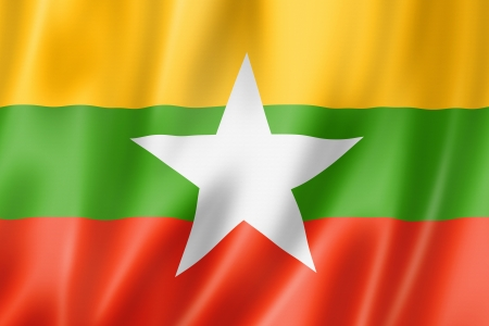 myanmar: Burma Myanmar flag, three dimensional render, satin texture