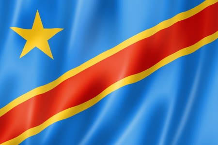 zaire: Democratic Republic of the Congo flag, three dimensional render, satin texture Stock Photo