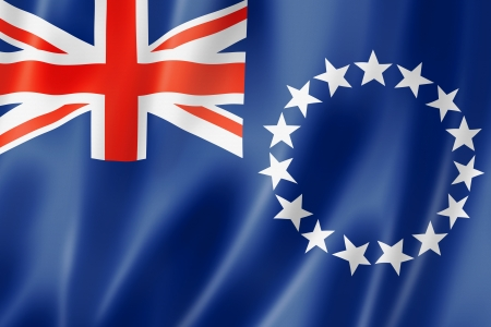 Cook Islands flag, three dimensional render, satin texture Reklamní fotografie