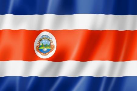 costa rica flag: Costa Rica flag, three dimensional render, satin texture Stock Photo