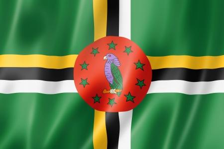 dominica: Dominica flag, three dimensional render, satin texture