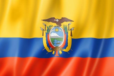ecuador: Ecuador flag, three dimensional render, satin texture Stock Photo