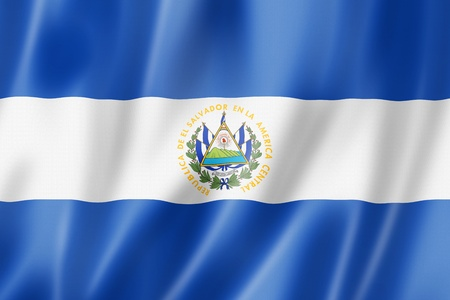 El Salvador flag, three dimensional render, satin texture photo