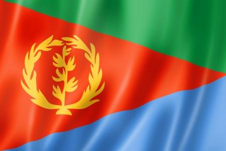 eritrea: Eritrea flag, three dimensional render, satin texture