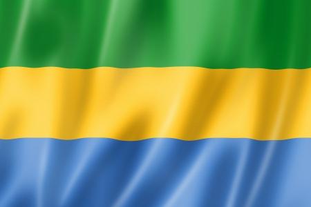 gabon: Gabon flag, three dimensional render, satin texture