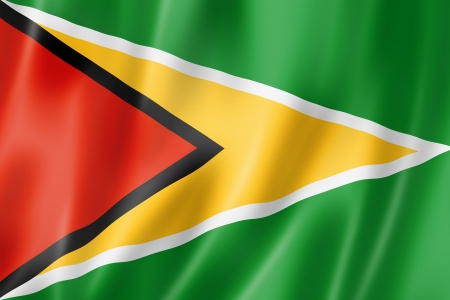 Guyana flag, three dimensional render, satin texture photo