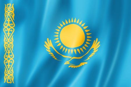 kazakhstan: Kazakhstan flag, three dimensional render, satin texture