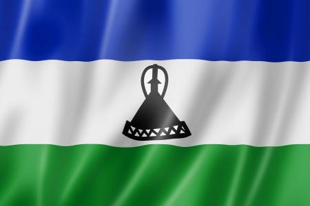 LESOTHO: Lesotho flag, three dimensional render, satin texture