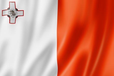 malta flag: Malta flag, three dimensional render, satin texture