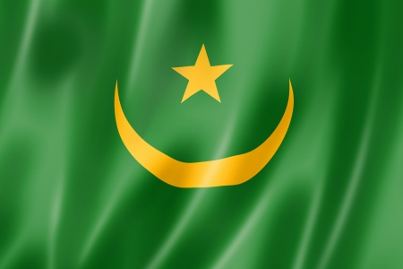Mauritania flag, three dimensional render, satin texture photo