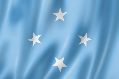 Micronesia flag, three dimensional render, satin texture photo