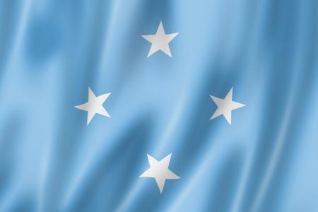 micronesia: Micronesia flag, three dimensional render, satin texture