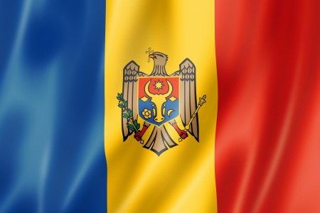 Moldova flag, three dimensional render, satin texture