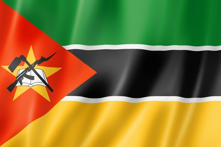 dimensional: Mozambique flag, three dimensional render, satin texture Stock Photo
