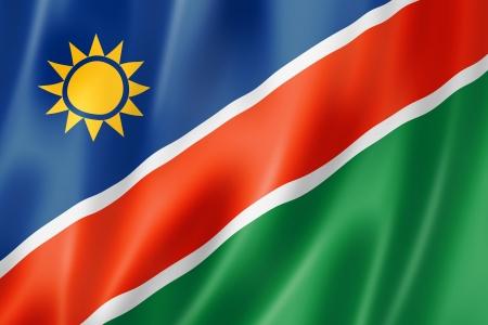 green flag: Namibia flag, three dimensional render, satin texture Stock Photo