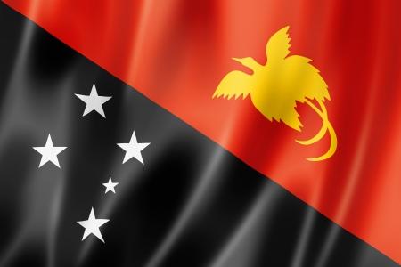 papua: Papua New Guinea flag, three dimensional render, satin texture