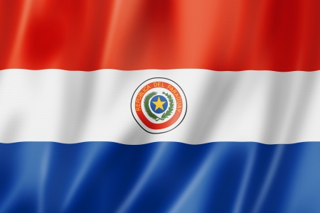 Paraguay flag, three dimensional render, satin texture photo