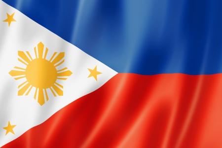three dimensional: Philippines flag, three dimensional render, satin texture Stock Photo