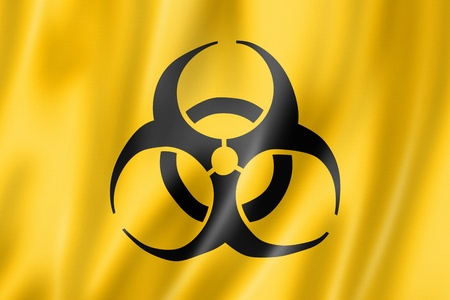 Biohazard flag, three dimensional render, satin texture photo