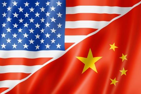 china business: Mixed USA and China flag, three dimensional render, illustration