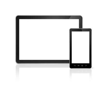 mobile phone screen: 3D mobile phone and digital tablet pc - isolated on white with clipping path