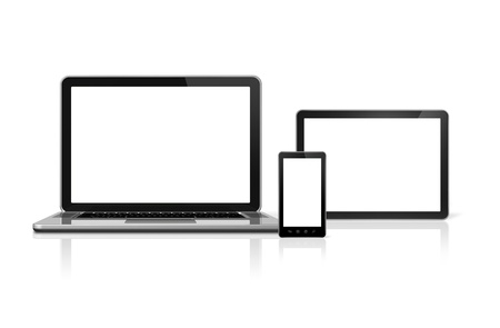 3D laptop, mobile phone and digital tablet pc - isolated on white with clipping path