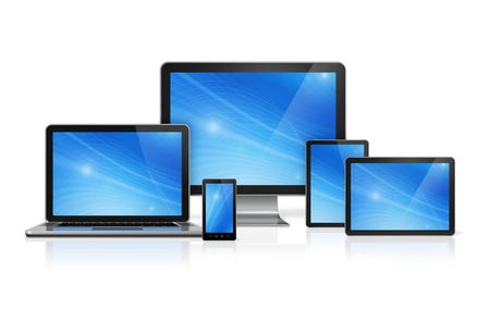 3D computer, laptop, mobile phone and digital tablet pc - isolated on white with clipping path Stock fotó - 19187820