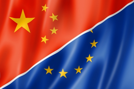 chinese flag: Mixed China and Europe flag, three dimensional render, illustration Stock Photo