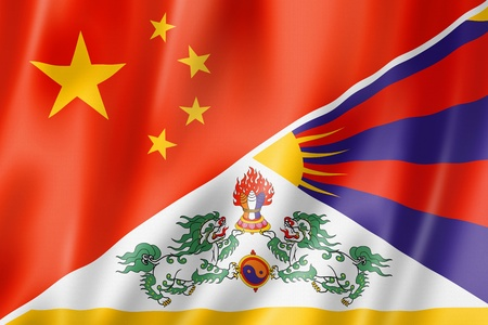 tibet: Mixed China and Tibet flag, three dimensional render, illustration