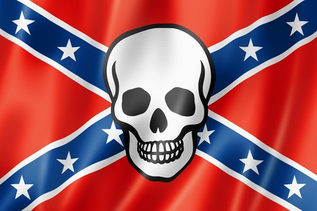 rebel: Confederate flag with skull, three dimensional render, satin texture