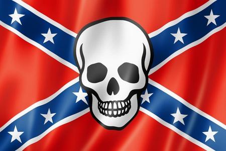 civil war: Confederate flag with skull, three dimensional render, satin texture