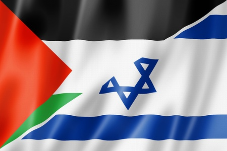 israel war: Mixed Palestine and Israel flag, three dimensional render, illustration