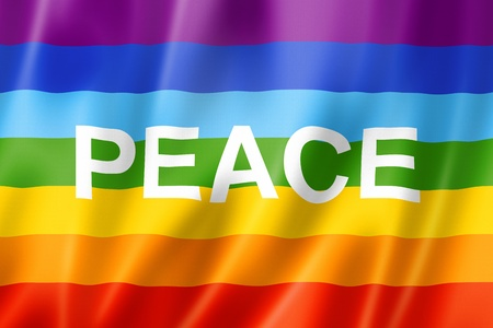 Rainbow peace flag, three dimensional render, satin texture Stock Photo - 19291245