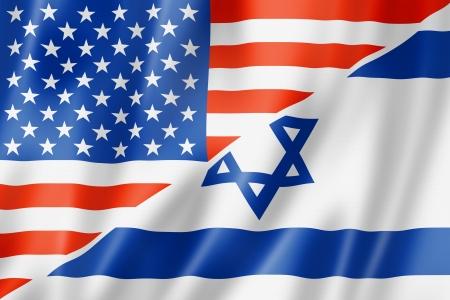 israeli: Mixed EE.UU. e Israel bandera, tres de representaci�n tridimensional, ilustraci�n